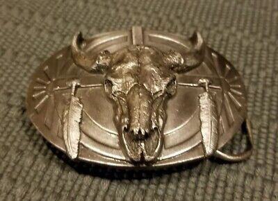 1986 Siskiyou Buckle Company Pewter Buffalo Skull Belt Buckle
