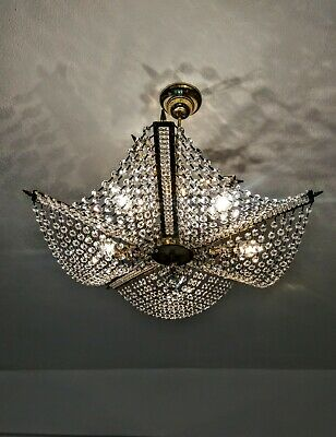 Pair Match Star Light Vintage Brass Crystal Chandelier French Ceiling Light Lamp