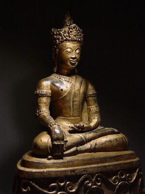 ANTIQUE BRONZE MEDITATING CROWNED 'CHIENG LUNG' BUDDHA. RARE TEMPLE RELIC 19th C
