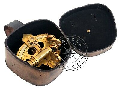 """Nautical Henry Barrow 4"""" Antique Brass Ship Sextant Astrolabe With Leather Case"""