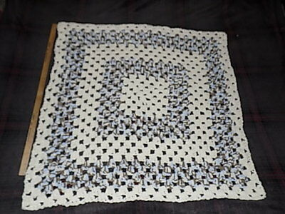 """2 Hand Knitted Crochet Afghan Throw's Blanket's Lap Robe 41"""" x 41"""" 31"""" x 31"""""""