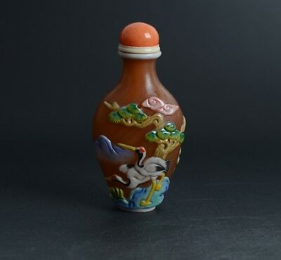 Chinese Carved Crane Pine Tree Overlay Brown Colour Glass Snuff Bottle-JR11707