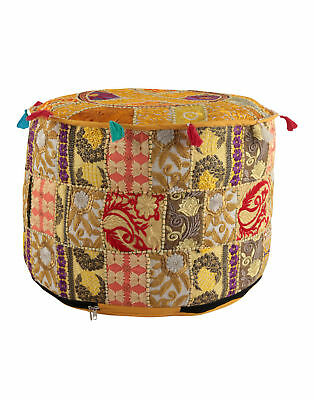 Indian Handmade Vintage Patch Work Yellow Ottoman Cover,Vintage Ottoman 22X22X14