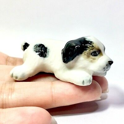 Miniature Baby Border Collie Sleep Statue Animal Figurine Dog Collectibles Decor