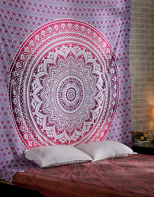 Indian Ombre Mandala Pink Tapestry Hippie Wall Hanging  Queen Tapestries