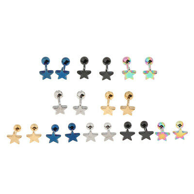 Lots Of 10pcs 16G Star Tongue Studs Barbell Ring Bar Body Piercing Jewelry