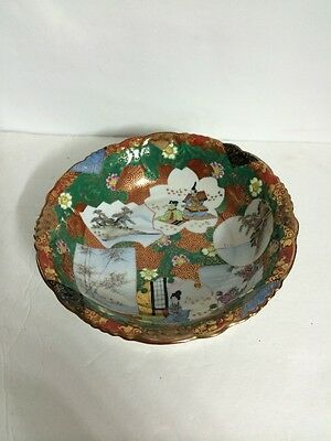 Antique Old Japanese Kutani Ware Porcelain Bowl Painted Gilt Signed NR!