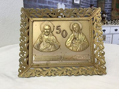 50TH ANNIVERSARY VINTAGE Metal Wall Plaque Sign Blessed Mary & Jesus