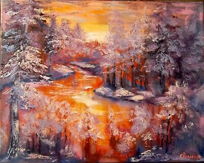 Sunset Painting Art Original Oil Painting Abstract Winter forest Canvas ArtistSv