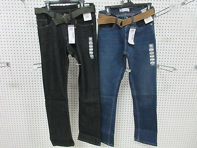 2 Lee Dungarees Boys Kids Youth Pants Jeans Clothes Slim 18 R Belt Straight Leg
