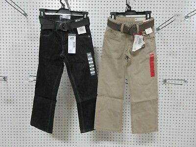 2 Lee Dungarees Boys Kids Youth Pants Jeans Clothes Slim 8 R Belt Straight Leg