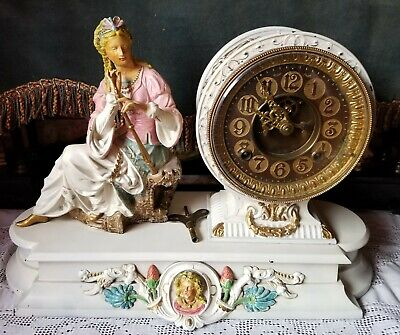 Antique Hand Painted Ansonia Figural Metal Mantle Clock ca. 1895