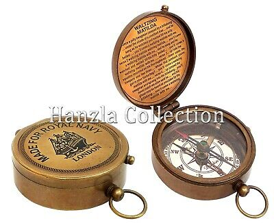 Vintage MADE FOR ROYAL NAVY Brass Pocket Compass Maritime Antique Nautical Poem