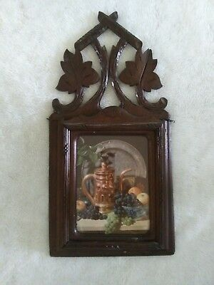 Vintage Antique German Black Forest Wooden Wall Plaque Pocket Letter Holder