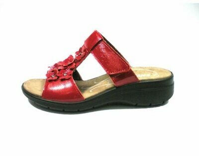 025b53d9b4b0bc Sandali Donna Enval Soft 3282711 Pelle In Vernice Rosso Con Zeppa Made In  Italy