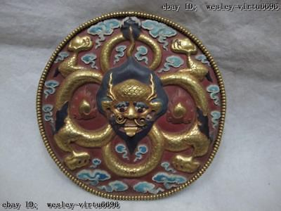 8 Chinese Buddhism Copper 24K Gild Painted Lucky Dragon TangKa Plaque TangKa