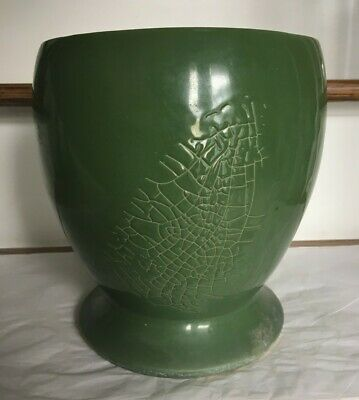 Large Vintage Floraline Green Planter by McCoy 471-3 with Abstract Design 1940-1