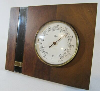 Vintage Brass BARIGO Thermometer on GE Wood Plaque Made in Germany