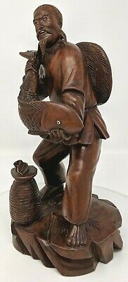Vintage - Chinese - Wooden Fisherman Holding Fish Figurine - Glass Eye - Statue
