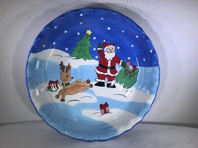 "Christmas Pie Plate Santa Reindeer 10"" Round Scalloped Edges Micro/Dish Safe"