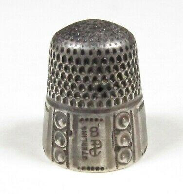 Antique 1890-1908 Stern Bros & Co Fouled Anchor Sterling 10 Panel Thimble, Sz 8