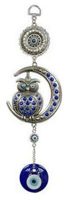 Owl Perched Upon Crescent Moon & Evil Eye Protection Blue Blown Glass Wall Decor