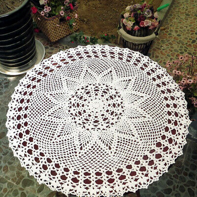 Handmade White Round Crochet Cotton Lace Table Cover Doilies Tablecloth 59cm