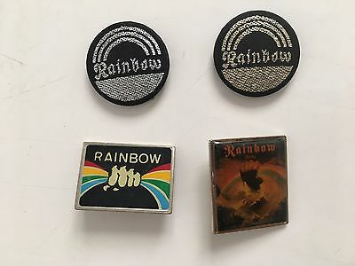 RAINBOW,MUSIC BAND SET OF 4  RARE VINTAGE 1970's PINBACK BUTTON BADGES,1 INCH