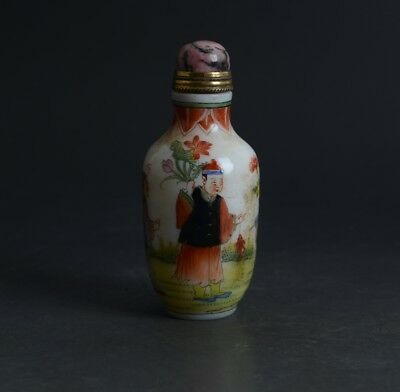 Chinese Figure Flowers Scenery Pattern Painted Enamel Glass Snuff Bottle-JR11616