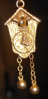 Vintage Small Gold Tone Cuckoo Clock Pendant or Charm