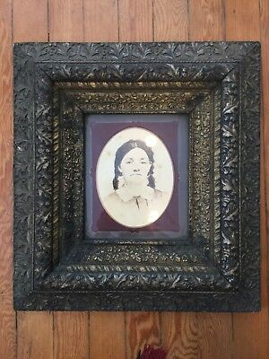 One Antique Ornate Wooden Gesso Silver Gilt Frame w Nice Matte Female Portrait