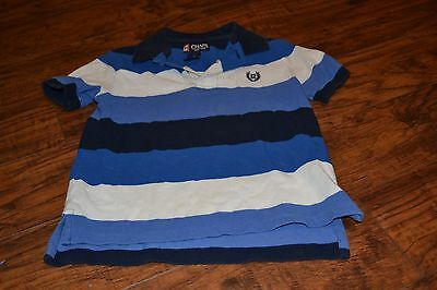 C6- Chaps Short Sleeve Blue & White Striped Polo Shirt Size 4