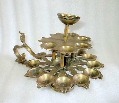 Antique 1850's Old Indian Hand Engraved Brass Holy Worship Temple Oil Lamp Diya