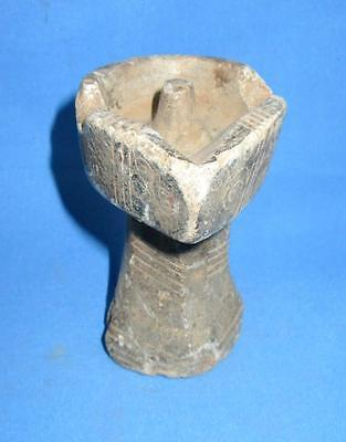 1850's Indian Antique Old Stone Hand Craved Beautiful Candle Holder Oil Lamp