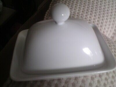 Galzone White Butter Dish With Lid, USED, MADE IN DENMARK.