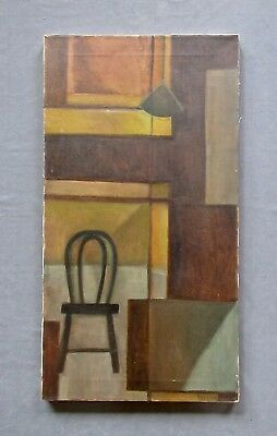 Vintage Mid-Century Geometric Abstract Interior Oil Painting