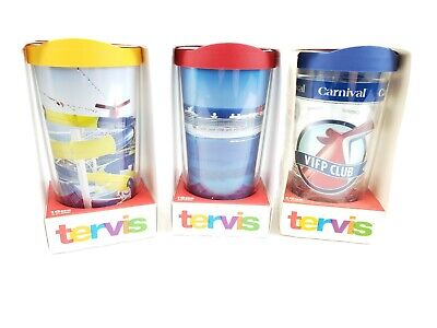 3 New Different Carnival Cruise Line VIFP Gift Tervis Tumblers NIB