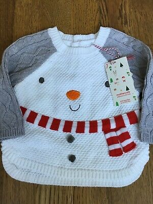 Mothercare Age 6-9 Mths Boys Knitted Snowman Christmas Jumper 🎅🏻bnwt🎅🏻