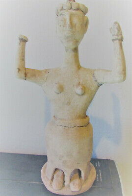 Scarce Bronze Age Greek Minoan Terracotta Diety. Very Fine State 2700-1600Bce