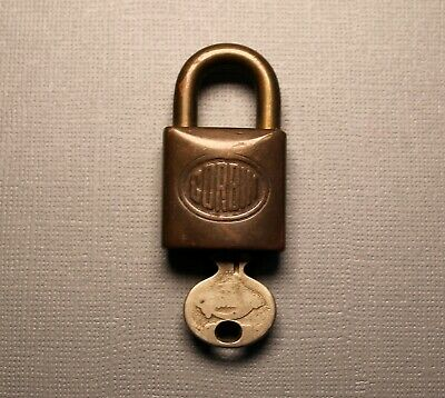 Vintage Small Solid Brass Corbin Padlock with One Key