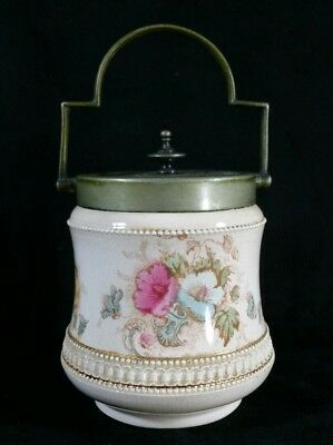 Sm Antique English Brass & Porcelain S F & Co Covered Biscuit Jar Elm Pattn FINE