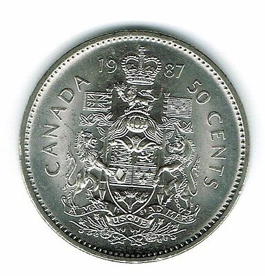 1987 Canadian Brilliant Uncirculated Fifty Cent coin!