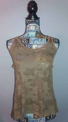 Wet Seal Camo Racer Back Tank Top Sheer Lace Back Size XS Unique