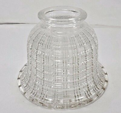 """Double Cut Basket Weave Clear Glass Lamp Shade Ruffled Edge 3"""" Fitter 5"""" Tall"""