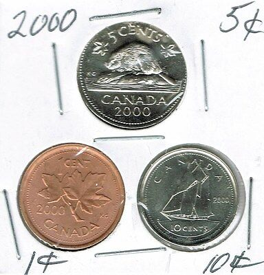 2000 Canadian Brilliant Uncirculated Three Coin 1, 5  and 10 Cent Type Set!