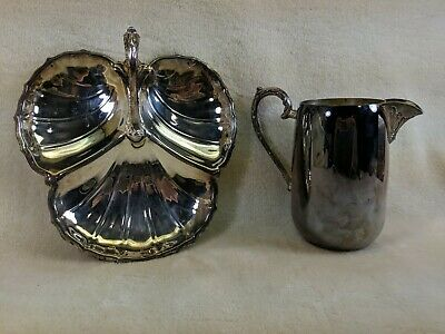 Sheridan Silverplate Water Pitcher with Hors d'oeuvre Tray