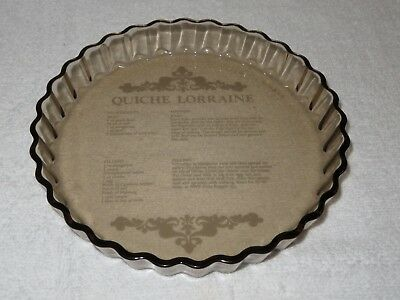 Arcopal Smoked Glass Quiche Lorraine Recipe/ Flan Dish 7.5 Inches Vintage