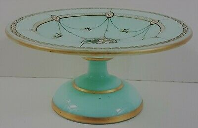 Antique French green opaline glass dish