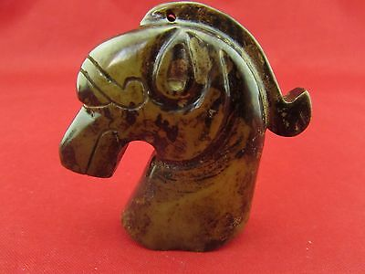 Chinese ancient natural jade Hand carved horse's head Jade statue hand  B1056