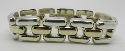 James Avery Retired Silver And 14K  Gold Heavy Link Bracelet - Rare - Lb-C2105